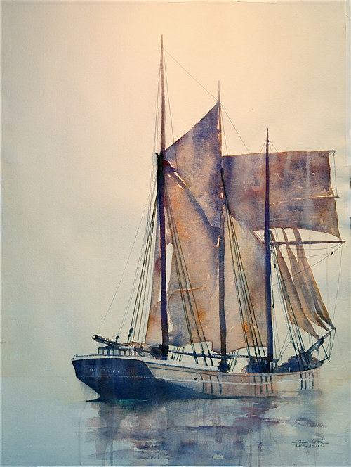 A painting of a sailboat on calm waters