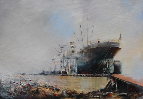 A mixed media artwork of a ship at port