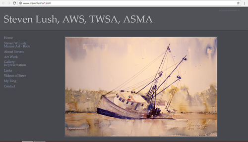A screen capture of Steven Lush's art website