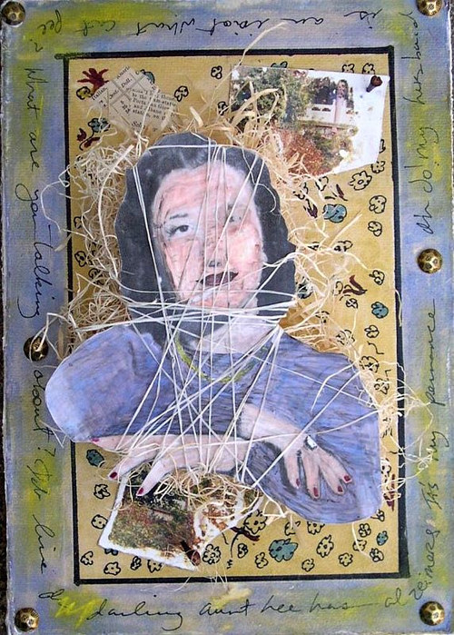 A mixed  media collage with photo elements