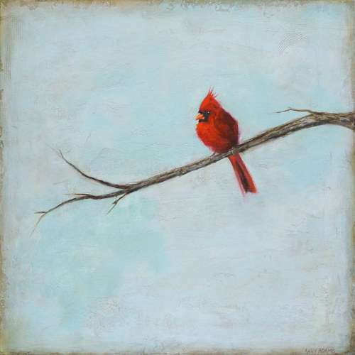 A painting of a red cardinal on a single branch