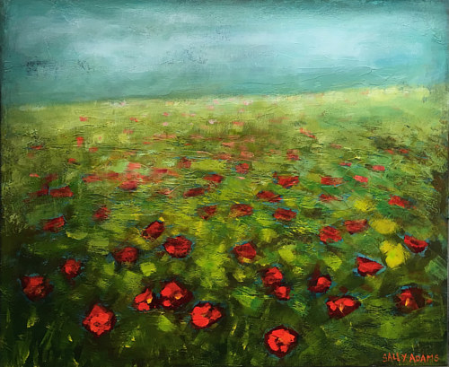 A painting of a field of poppies