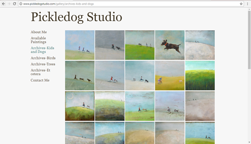 A screen capture of a painting gallery on the Pickledog Studio website