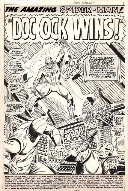 Spiderman artwork by John Romita Sr. for a 1967 issue