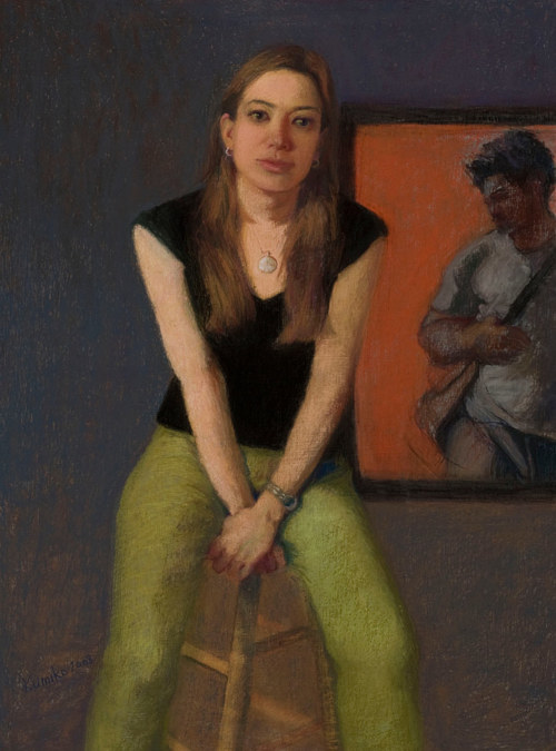 A painting of a young woman sitting on a stool