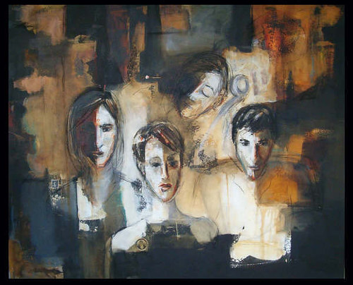 A painting with neutral color planes and figures