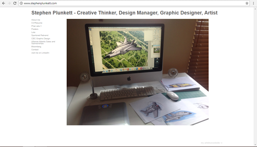 A screen capture of Stephen Plunkett's art and design website