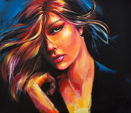 A painting of a woman's face in bright colors