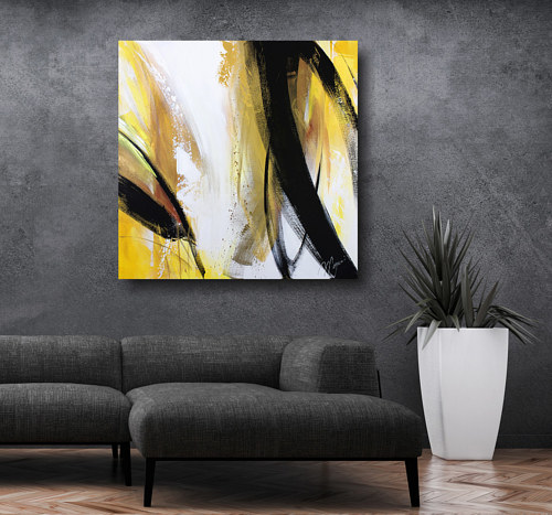 An artist's rendering of a painting situated in a staged interior