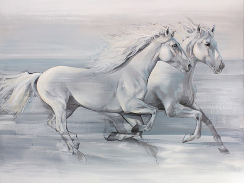 A painting of horses running in a white field