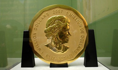 A photo of the Big Maple Leaf coin on display at the Bode Museum