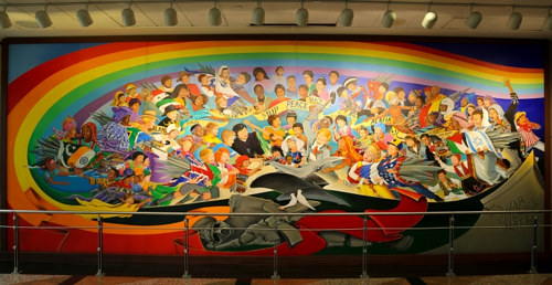 A mural by Leo Taguman at the Denver Airport