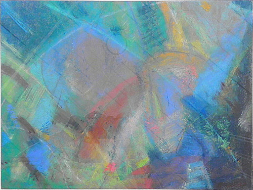 An abstract drawing with bright blue hues