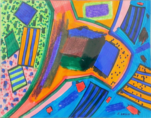 An abstract drawing with  half geometric forms and bright colors