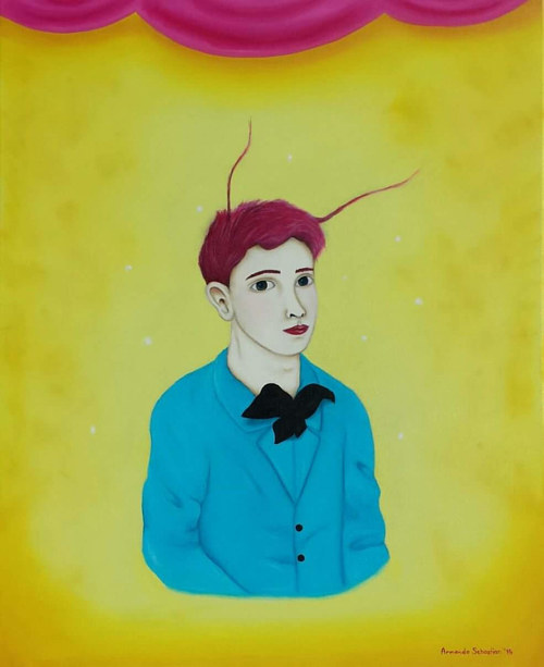A painting of a boy with insect antennae