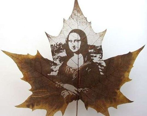 Maple leaf with painting of mona lisa