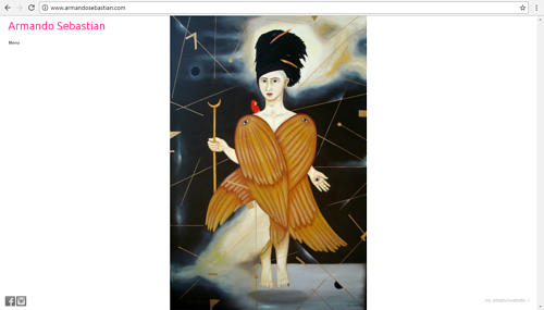 A screen capture of Armando Sebastian's art website