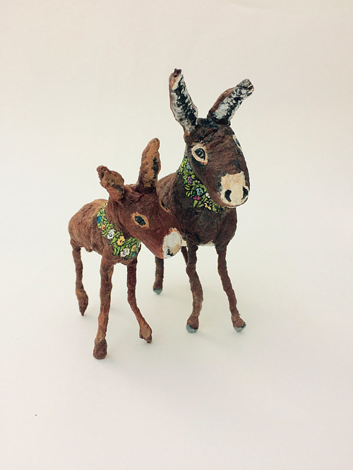 Two spun cotton donkey ornaments