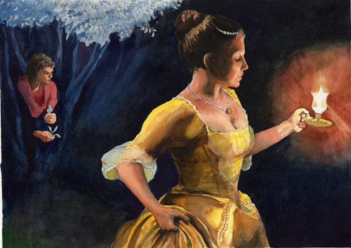 A painting for the cover of Twelve Dancing Princesses