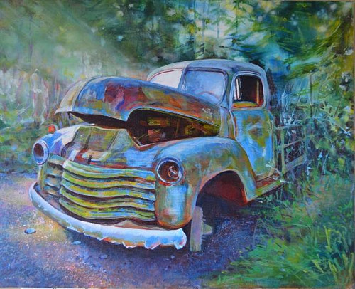 A painting of an old, rusted-out truck