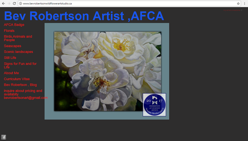 A screen capture of Bev Robertson's art website