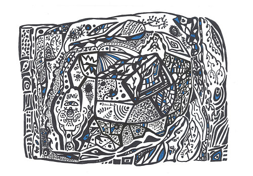 A black and white patterned drawing with blue accents