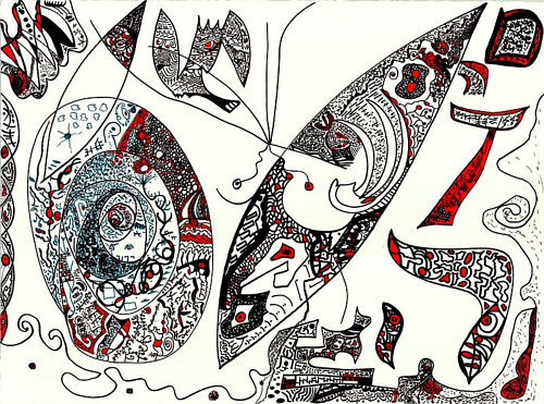An ink drawing of abstracted patterned shapes