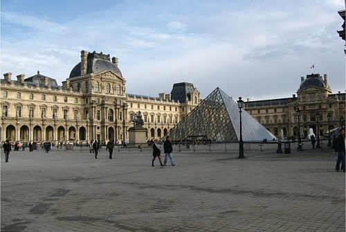 An exterior photo of the Louvre