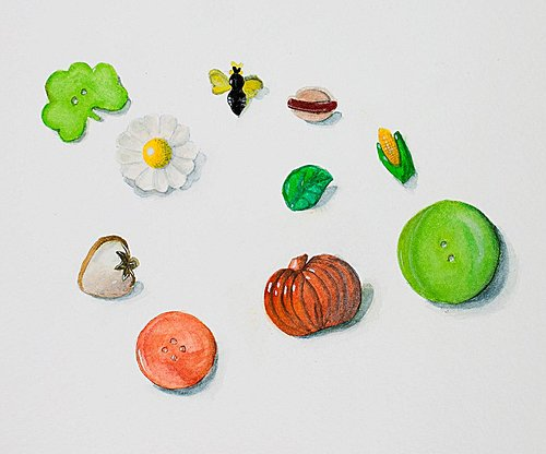 Pastel drawing of small objects