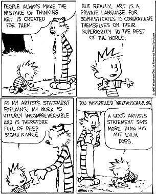 Calvin and Hobbes explain what is a good artist statement