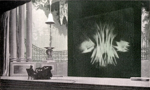 A photograph of Thomas Wilfred performing a light piece