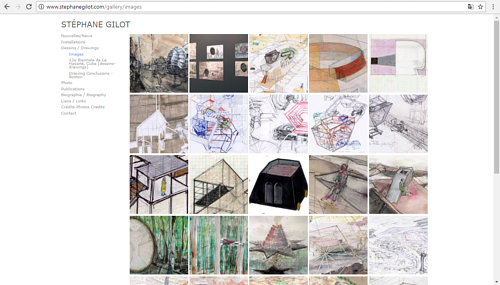 A screen capture of the drawing gallery on Stephane Gilot's art website