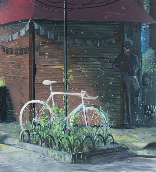 A painting of a ghostly bicycle by Clark Filio