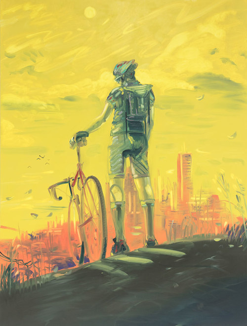 A bright yellow painting of a man with a bicycle