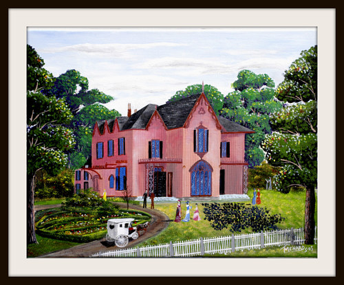 An illustration of a rosy red house