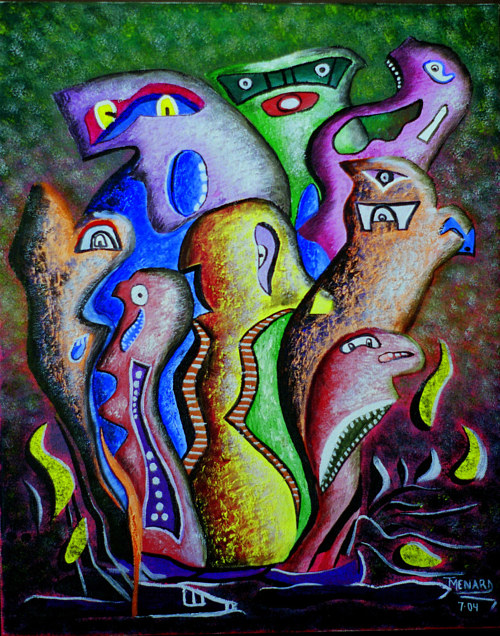 An abstract painting of several surreal figures