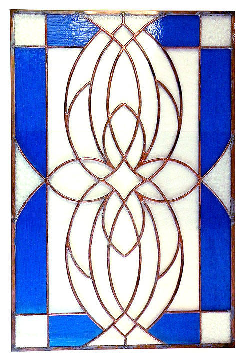 blue stained glass artwork with flowers in the middle