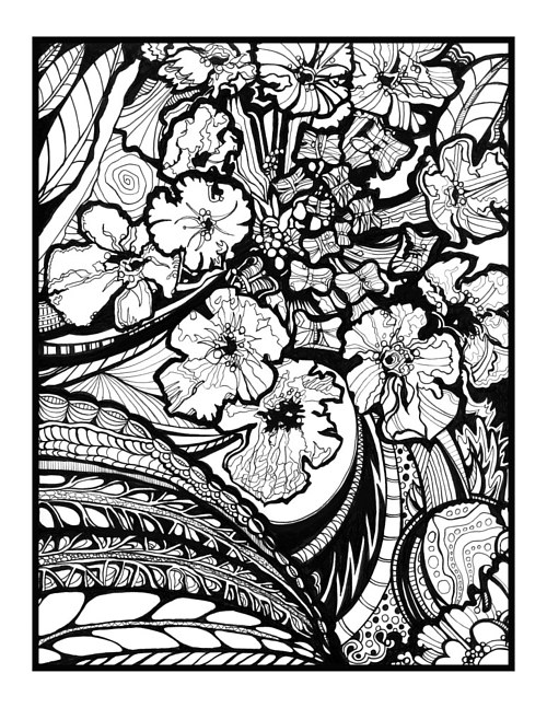 An ink drawing of flowers