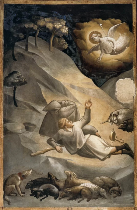 A fresco by Taddeo Gaddi depicting a solar eclipse in the 1300s