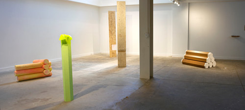 An installation view of several minimalist sculptures