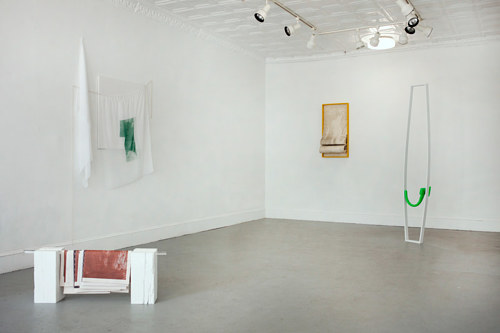 An installation view of Because He, a collaboration between Magali Hebert-Huot and Zach Ingram