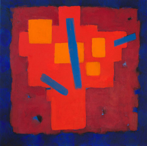 An abstract painting with red forms on a blue background