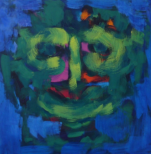 A painting of a face in loose green brush marks