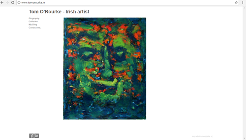 A screen capture of Tom O'Rourke's art website