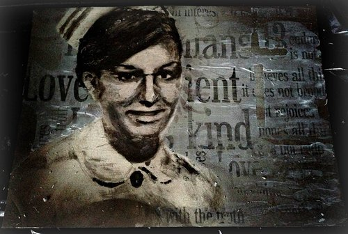 Mural image of nurse against background with text