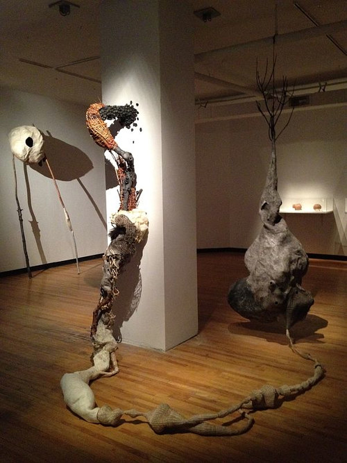 An installation view of several papier mache constructions