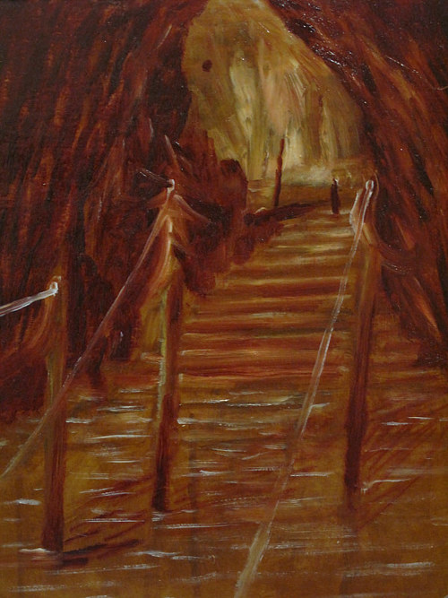 An oil painting of stairs in deep red tones