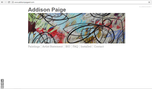 A screen capture of Addison Paige's art website