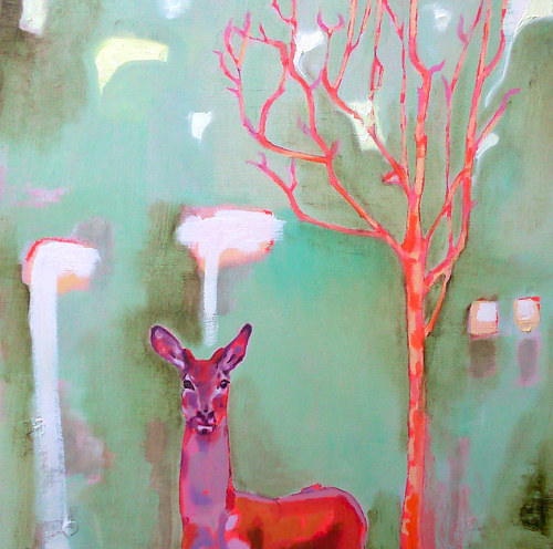A painting of a deer in bright green and pink hues