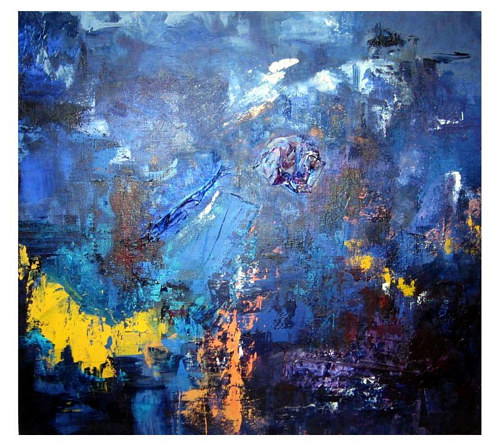 An abstract painting composed mainly in blue pigments